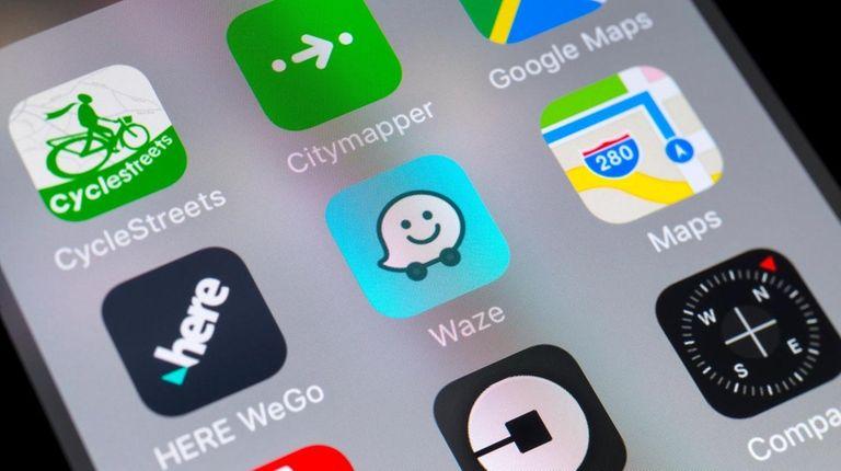The buttons of Here WeGo, Waze, Maps, Citymapper,