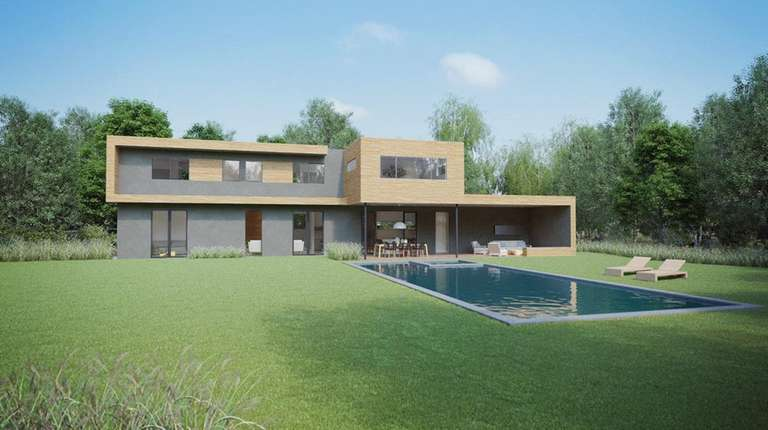 A 4,200-square-foot sustainable luxury getaway under construction in