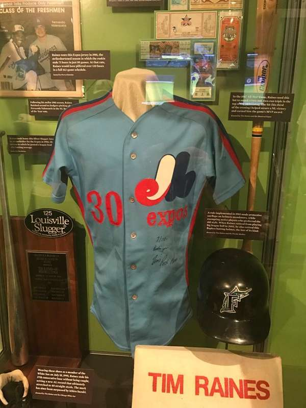 A Tim Raines Expos jersey, donated by collector