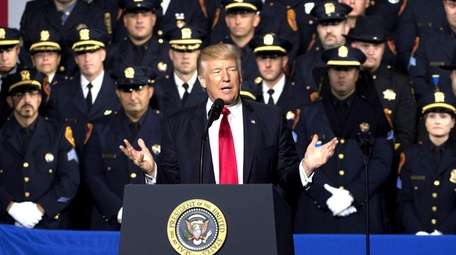 President Donald Trump delivers his speech on gang