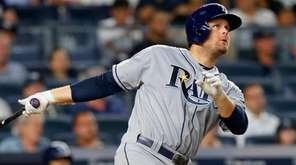 Lucas Duda of the Tampa Bay Rays homers against the