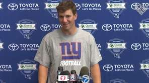 Giants quarterback Eli Manning met with the media