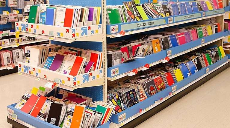 A back-to-school shopping display at Target on July