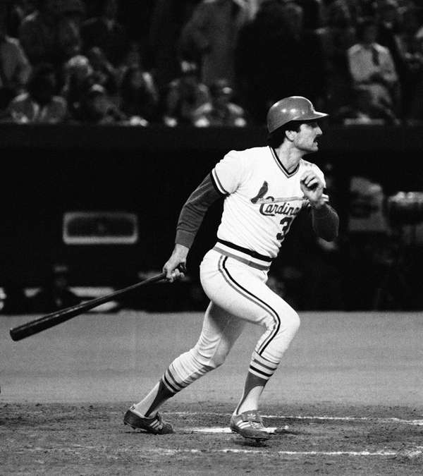 St. Louis Cardinals batter Keith Hernandez watches his