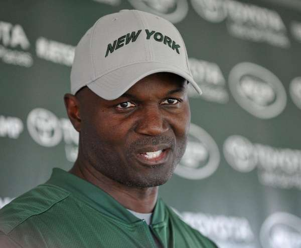 Jets head coach Todd Bowles speaks with the media