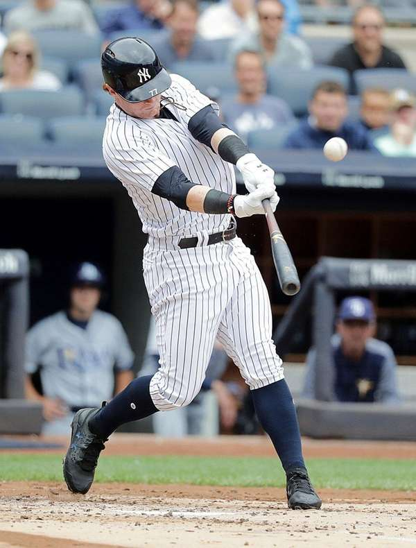 Yankees leftfielder Clint Frazier flies out to right