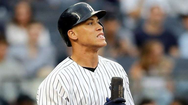 Aaron Judge of the Yankees reacts after he