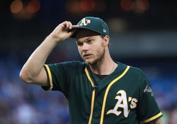 Sonny Gray of the A's walks to the