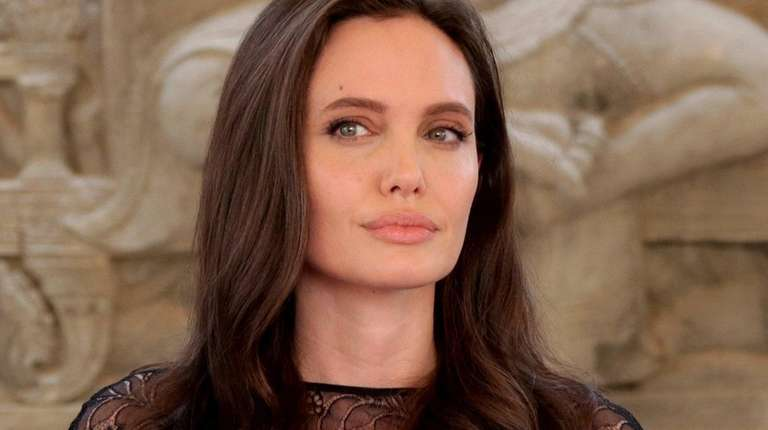 Angelina Jolie at a news conference in Siem