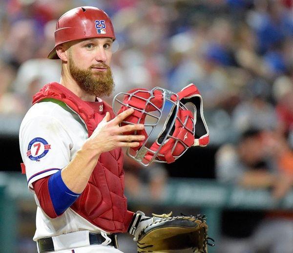Texas Rangers catcher Jonathan Lucroy looks to the