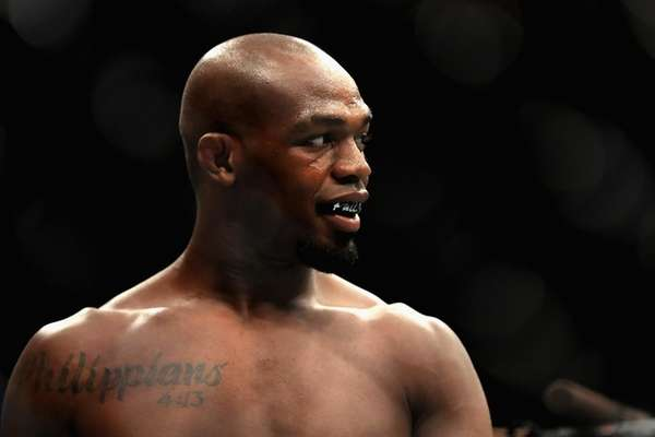 Jon Jones looks on prior to a fight