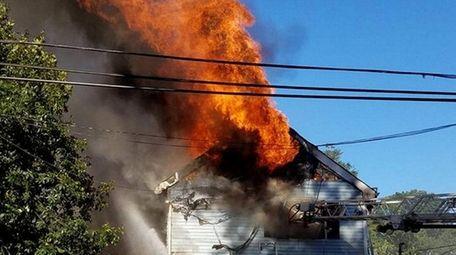 A firefighter was injured battling a blaze that