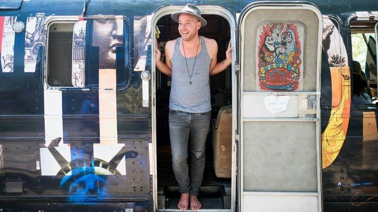 Stephan Cesarini on board his Grattitude Airstream in