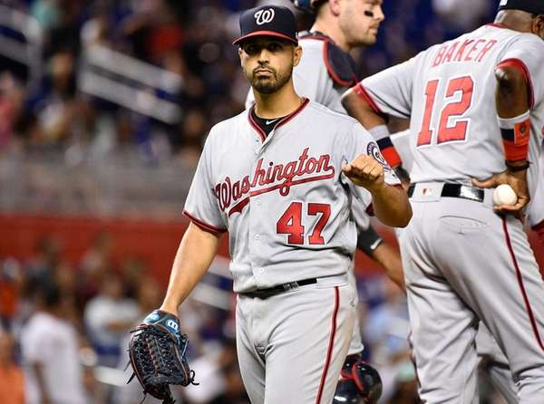 Gio Gonzalez of the Washington Nationals points to