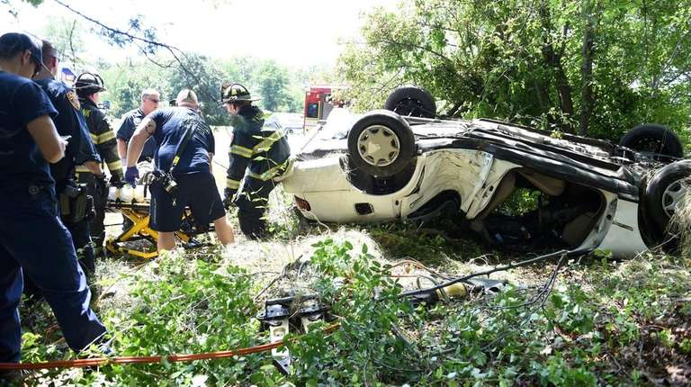 Yaphank firefighters and Suffolk County police respond to