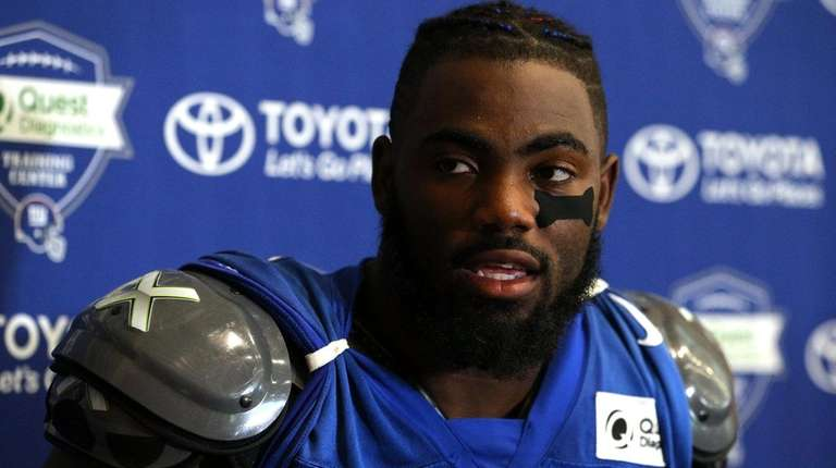 Giants safety Landon Collinsspeaks to the media after