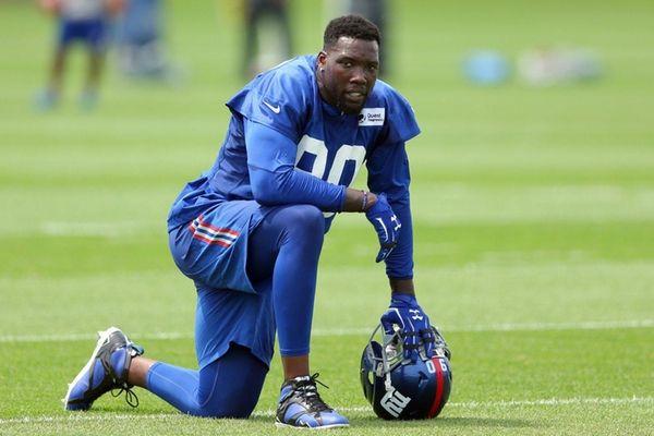 Giants defensive end Jason Pierre-Paulduring training camp at