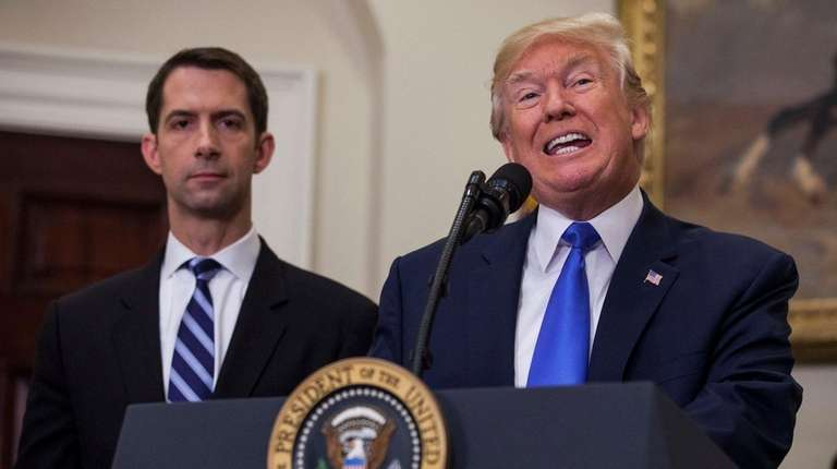 President Donald Trump, with Sen. Tom Cotton of