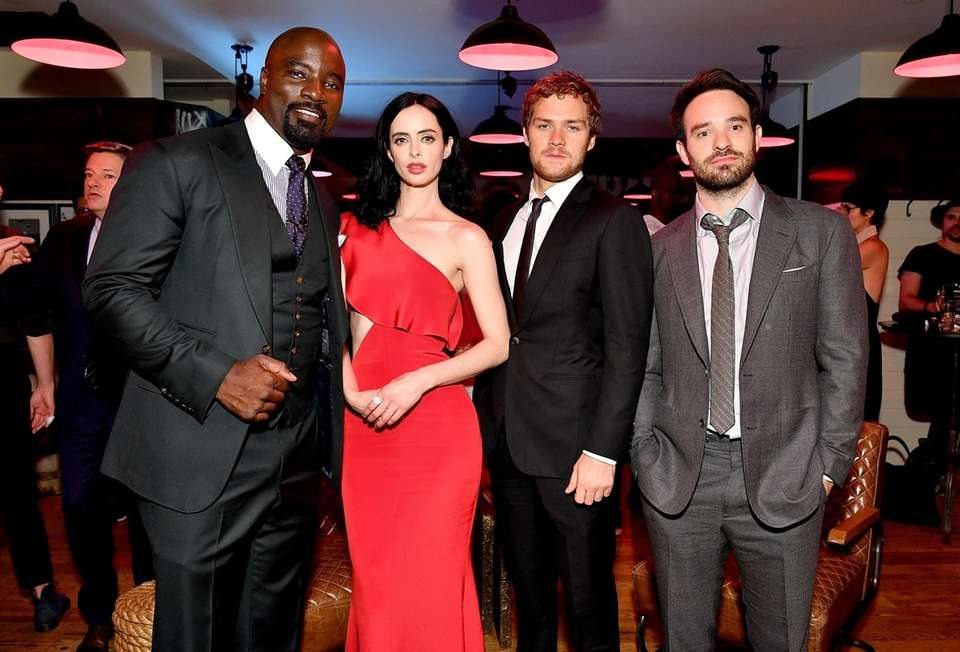 From left, Mike Colter, Krysten Ritter, Finn Jones