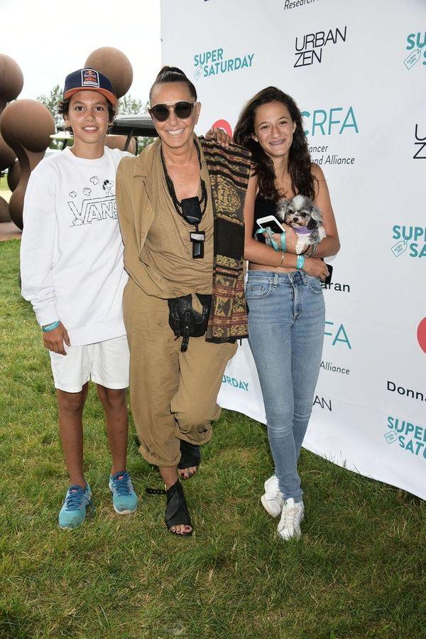 Designer Donna Karan with her grandkids, Sebastian and
