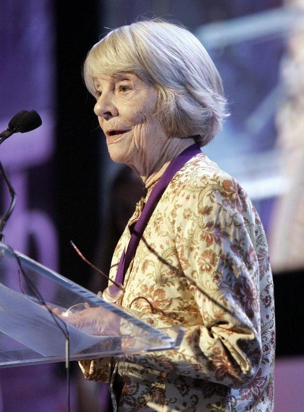 Knopf editor Judith Jones delivers her acceptance speech