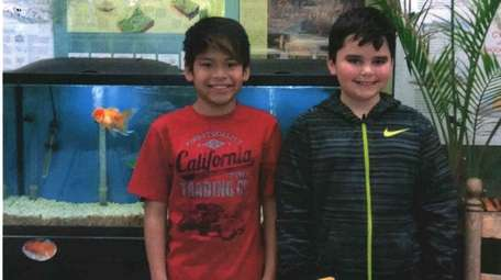 Kidsday reporters and best friends Nathanael Monahan, left,