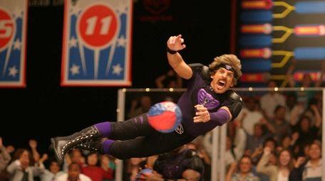 Ben Stiller takes flight during the ultimate dodgeball