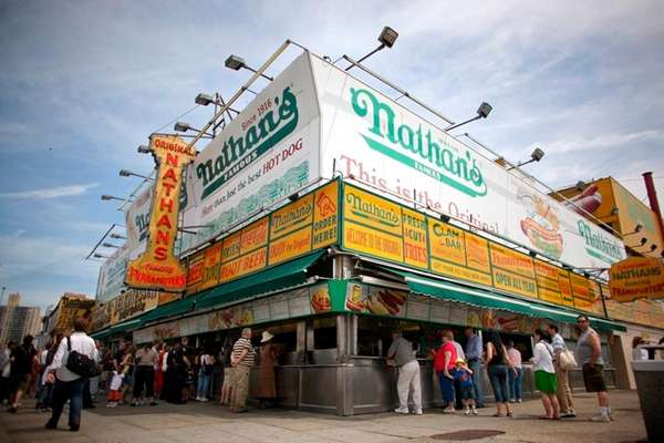 Nathan's Famous restaurant in Coney Island on May