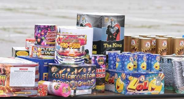 Illegal fireworks on display during a press conference
