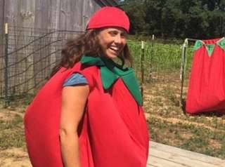 Farmer and owner Eve Kaplan-Walbrecht is dressed for