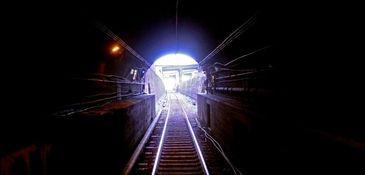 An LIRR train travels east inside an East