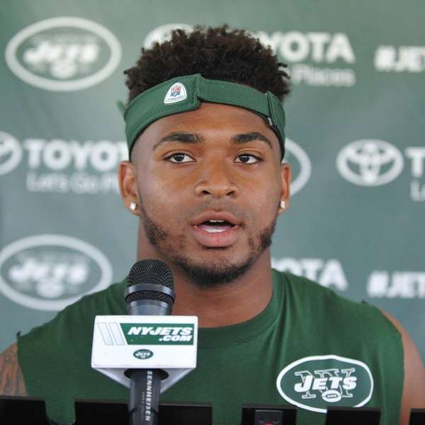 Jets rookie safety Jamal Adams speaks with the
