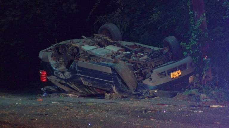 The reportedly stolen vehicle crashed and overturned on