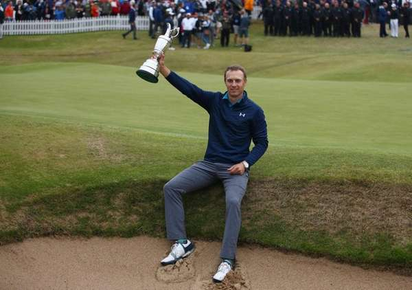 Jordan Spieth of the United States holds the