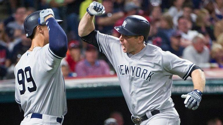 New York Yankees' Chase Headley celebrates after hitting