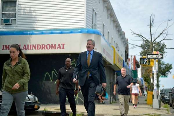 New York City Mayor Bill de Blasio arrives