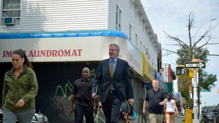 New York City Mayor Bill de Blasio arrives