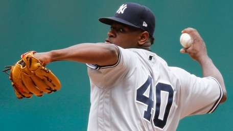 Yankees' Luis Severino delivers against the Indians during