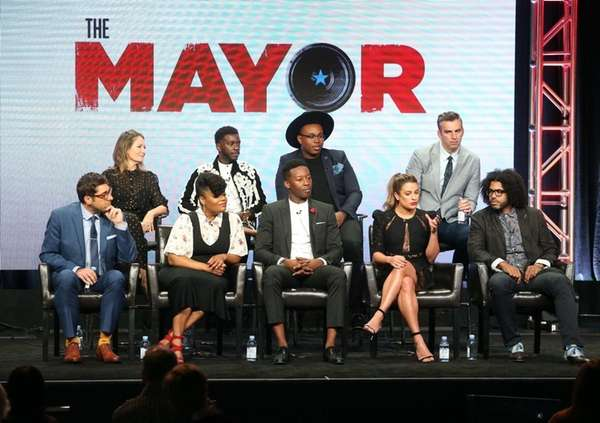 Daveed Diggs, far right, with the cast and