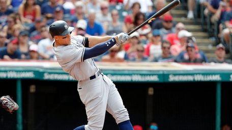 Aaron Judge of the Yankees hits a three-run