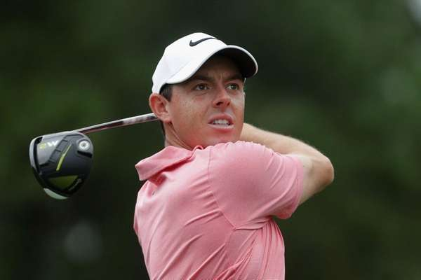 Rory McIlroyplays a tee shot during a practice