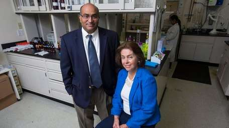 Saptalis Pharmaceuticals co-founders Polireddy Dondeti, left, and Tanya