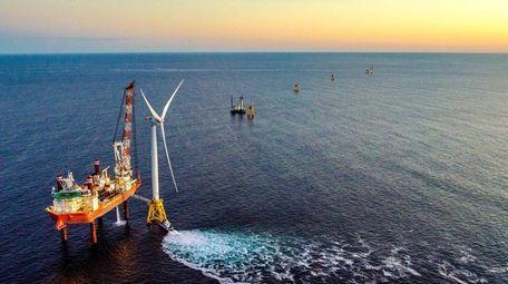 A wind turbine in the Atlantic, seen on