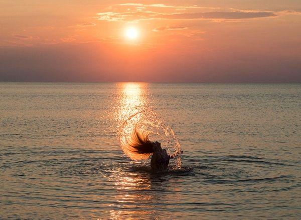 Katerina Eliodromytis, 9, from Southold swims in the
