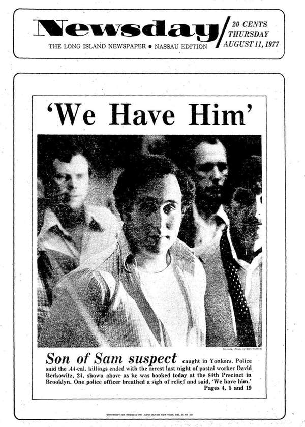 Newsday's Aug. 11, 1977, cover shows
