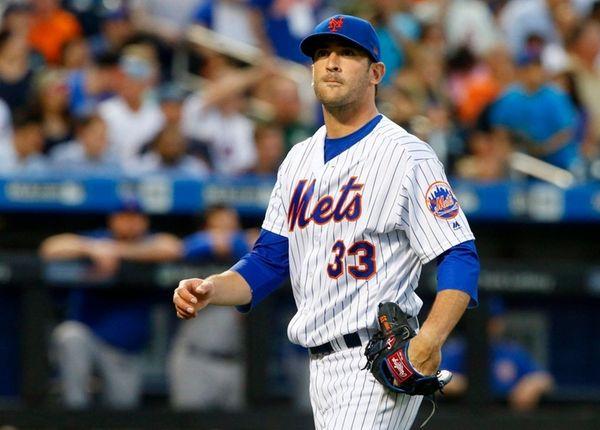Matt Harvey of the Mets walks to the