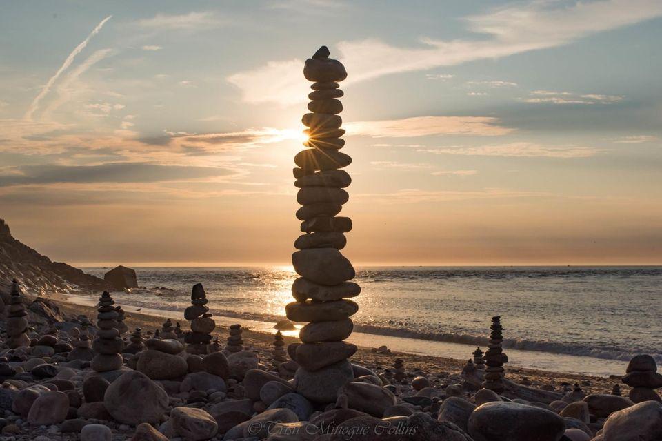 Rock spire creations on the beach in Montauk
