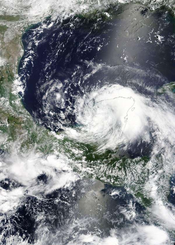 A satellite image of Tropical Storm Franklin, which