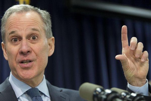 New York Attorney General Eric T. Schneiderman gestures