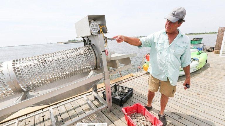 Oyster farmer Chuck Westfall of Amityville, 65, describes